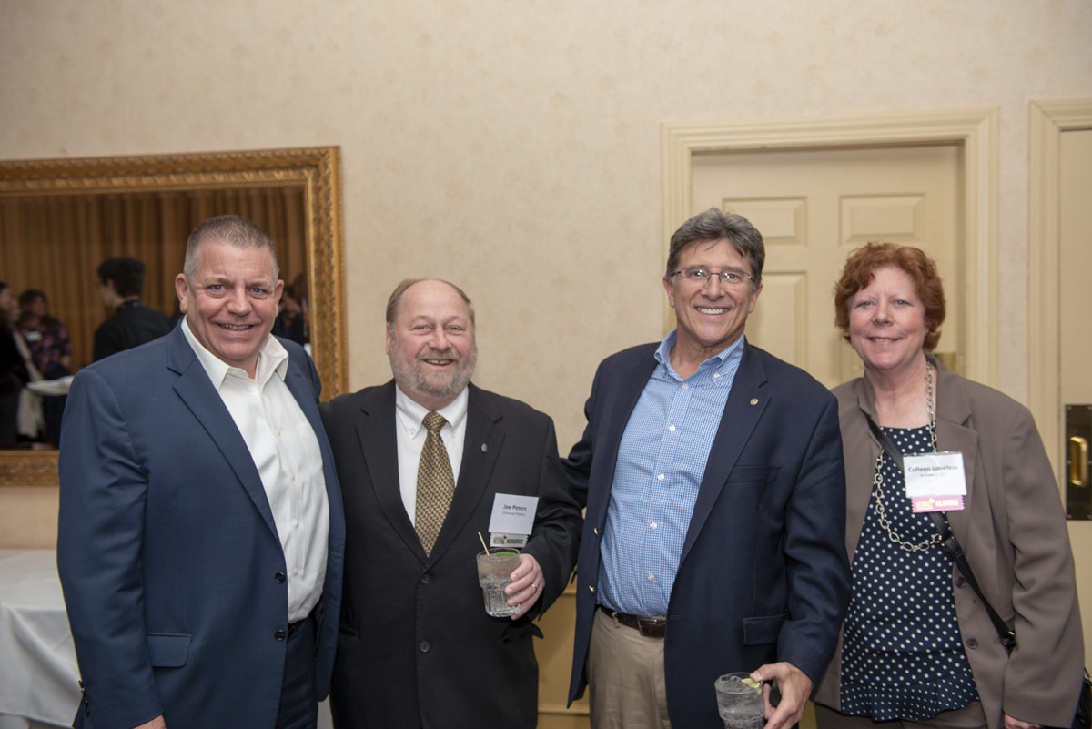 Michael Lefebvre, TD Bank; 2019 Difference Maker Joe Peters; Jeffrey Sattler, Savings Institute; and 2014 Difference Maker Colleen Loveless, Revitalize CDC.