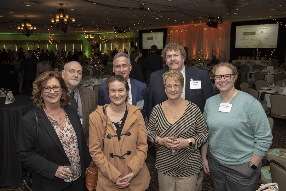 Andrew Morehouse (top center) with friends of the Food Bank of Western Mass., 2019 Difference Maker.