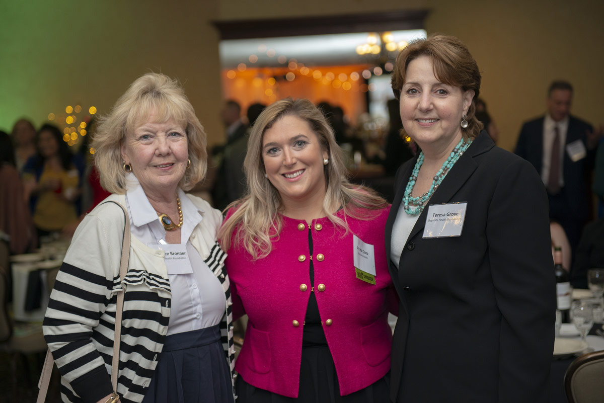 Kathleen Bronner, Jenna Conz, and Teresa Grove from presenting sponsor Baystate Health.