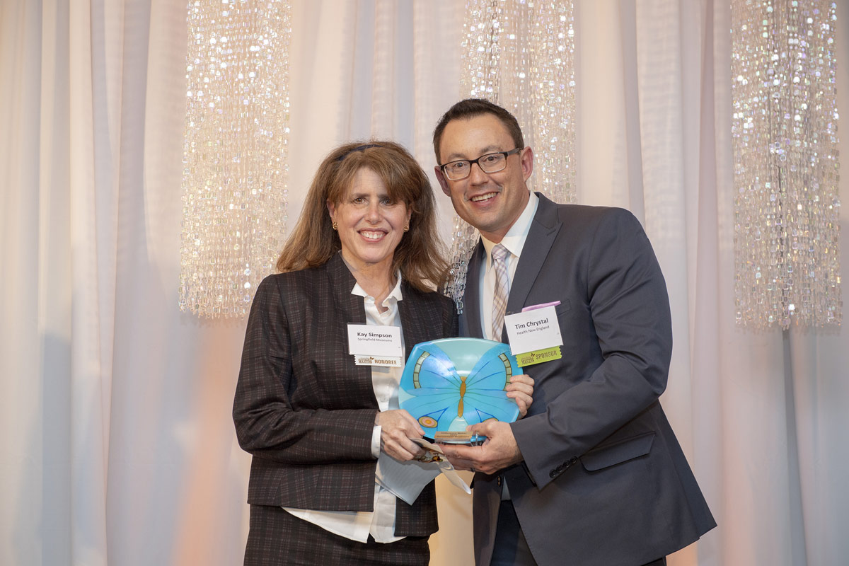 Kay Simpson of 2019 Difference Maker the Springfield Museums and Tim Chrystal, Health New England.