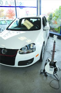 The VW Jetta GTI with its accompanying First Act guitar.
