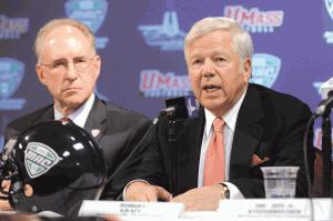 UMass Chancellor Robert Holub, left, with Robert Kraft, owner of New England Patriots