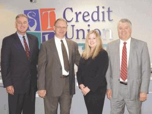 From left, STCU executives Michael Ostrowski, John Klimas, Jennifer Beylard, and Denny Keyes