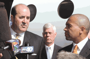 From left, Mike Burns, Richard Sullivan, former Westfield mayor and current state secretary of Energy and Environmental Affairs, and Gov. Deval Patrick.