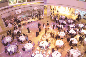 Center court at the Basketball Hall of Fame provides one of the region's unique party environments.