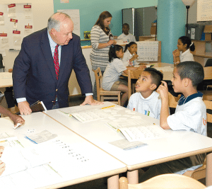 Superintendent Daniel Warwick pays frequent visits to the district's 54 schools and enjoys interacting with students.