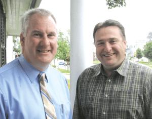 Mayor Daniel Knapik, left, and Jeff Daley