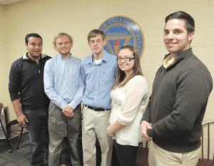 E-Board members, from left, Garrett Bieksza, Samuel McLaren, Adison Vanina, Tiffany Behuniak, and Justin Parlapiano