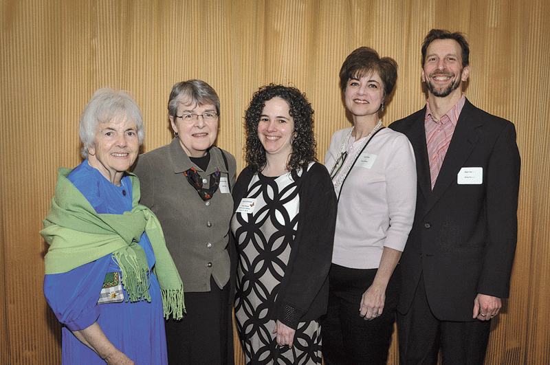 From left, Srs. Jane Morrissey and Cathy Homrok, members of the Sisters of St. Joseph and two of the founders of the Gray House, one of this year's honorees, with Dena Calvanese, executive director of the Gray House, Leyla Kayi, director of Donor Relations, and Glenn Yarnell, director of Adult Education.