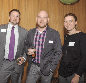 Meghan Lynch, right, president of Six-Point Creative Works, an event sponsor, networks with, from left, Gwen Burke, senior advertising consultant at BusinessWest; Jeremy Casey, assistant vice president of Commercial Services at Westfield Bank; and Peter Ellis, creative director at DIF Design.