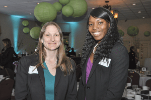 Karina Schrengohst, left, an attorney with Northampton-based Royal LLP, an event sponsor, talks with Crystal Boetang, an intern with the firm.