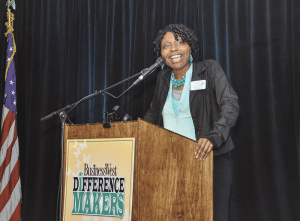 Difference Maker Paula Moore, recognized this year for her outstanding work with Springfield's youth, offers words of inspiration after receiving her award.