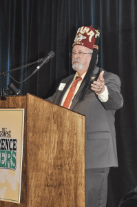 The Melha Shriners were recognized as Difference Makers for their commitment to bettering children's lives, especially through their support of Shriners Hospitals for Children. Here, Potentate William Faust shares some thoughts with the audience after receiving the award on behalf of the organization.