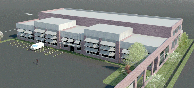 An architect's rendering of the Phoenix Charter Academy