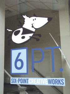 Six-Point's cartoon canine mascot