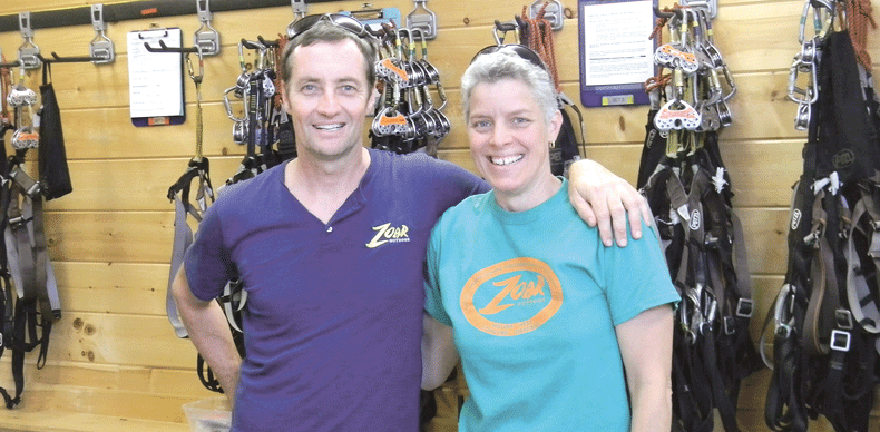 Kevin McMillan, with canopy tour manager Nina Nunes