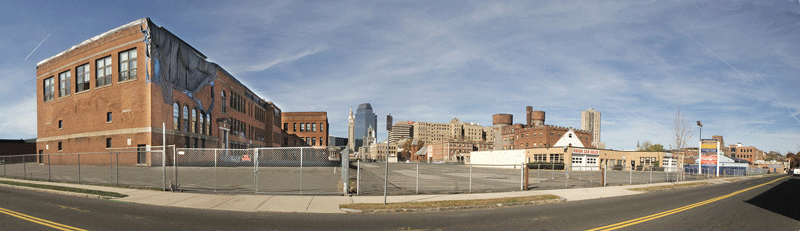 A panoramic view of the section of Springfield's South End that will be transformed into MGM's $800 million casino complex.