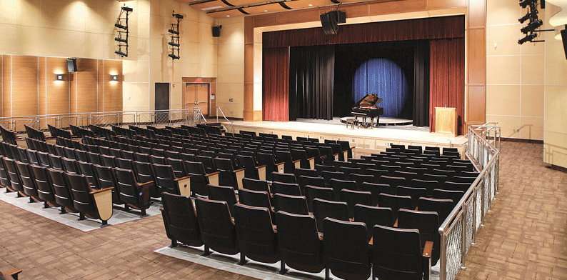 The auditorium inside Easthampton High School