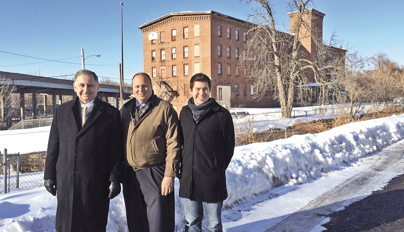 From left, Mayor Richard Kos, Carl Dietz, and Lee Pouliet