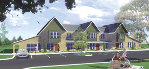 An architect's rendering of Parson's Village