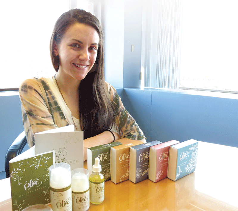 Jessica Lauren with some of her Olive Natural Beauty products.