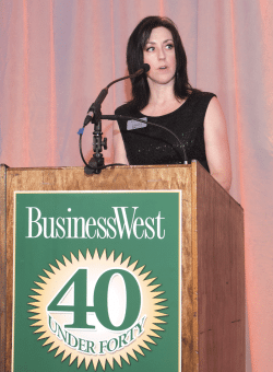 Kate Campiti, associate publisher, BusinessWest, welcomes the more than 650 attendees of the ninth annual 40 Under Forty gala.