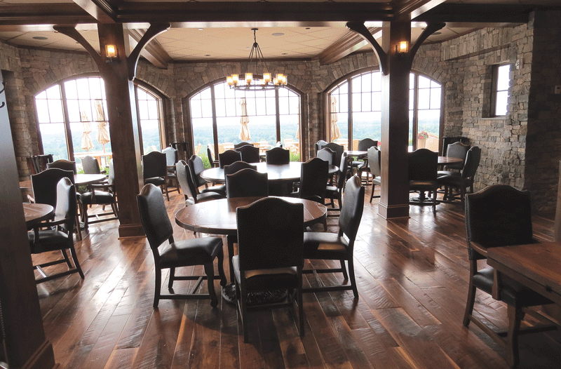 The dining room in the GreatHorse clubhouse overlooks the course.
