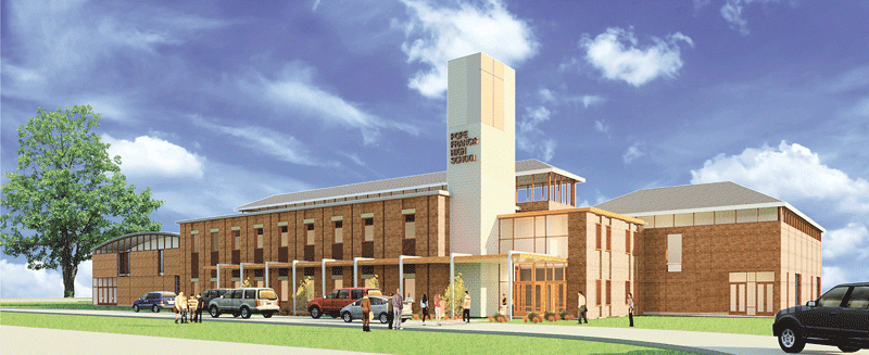 An architect's rendering of the planned Pope Francis High School.