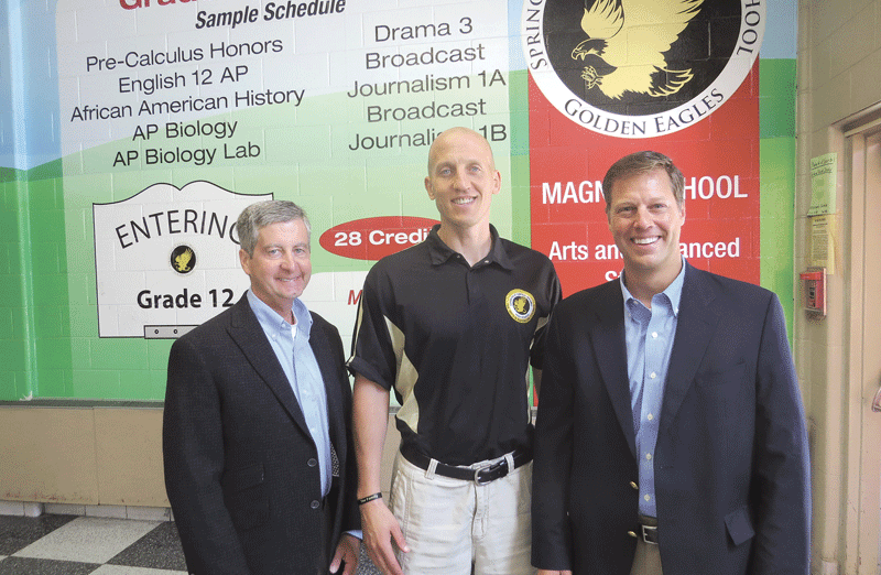 Gary Stone, left, and Jim White, right, are seen here with Central High School Principal Tad Tokarz