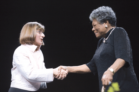 In 2007, President Leary welcomed poet, author, and civil-rights activist Maya Angelou