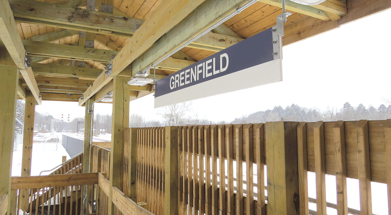 The new rail platform in Greenfield