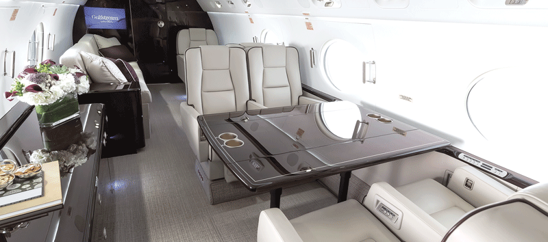 The interior layout of Gulfstream jets
