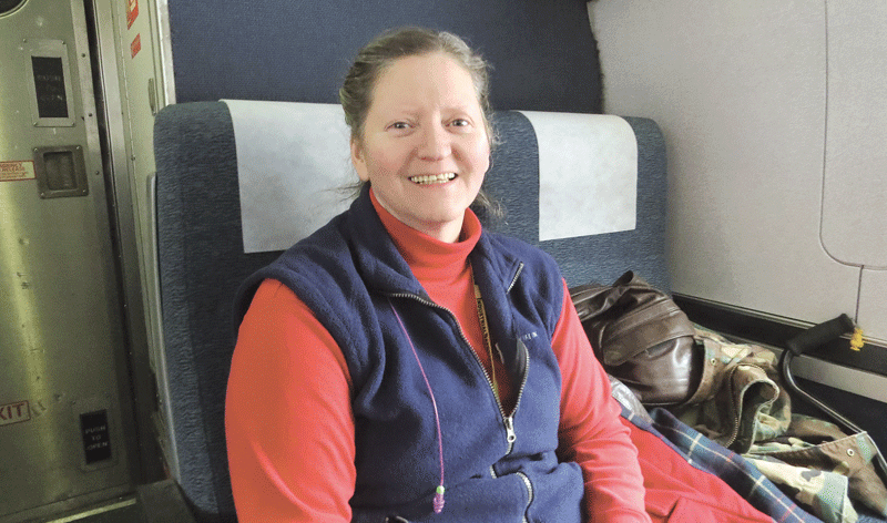 Carolynne O'Connell, who took the train from Greenfield to the Big Apple