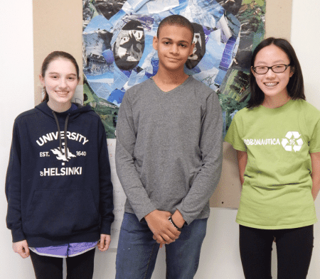 Ninth graders Talia O'Shea, Gabe Crivelli, and Amanda Doe