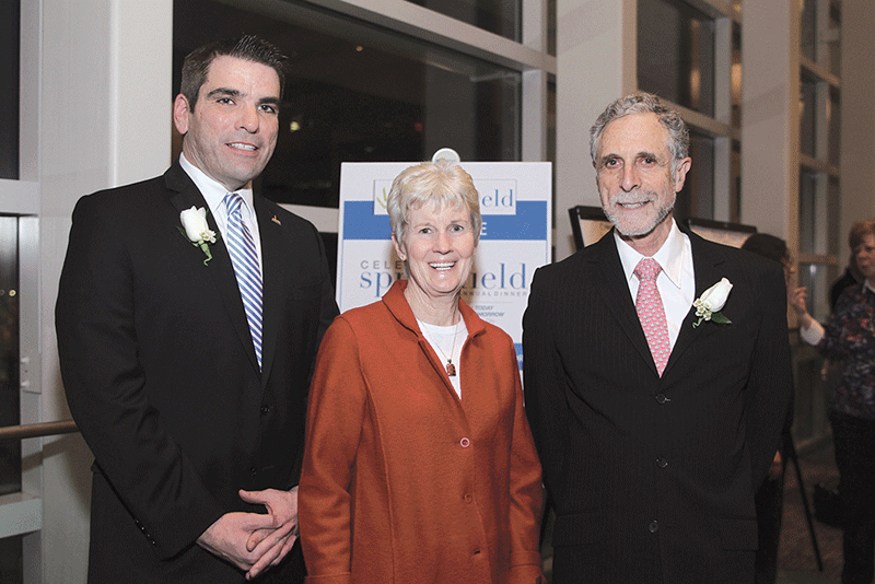 This year, its Partner in Progress Award, recognizing the contributions of individuals toward revitalization in Springfield, was given to, (from left) Brian Connors, Springfield's deputy director of Economic Development; Maureen Hayes, president of Hayes Development Services; and Ira Rubenzahl, president of Springfield Technical Community College