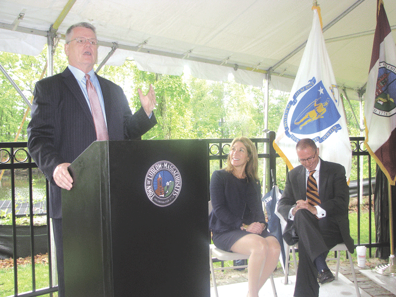 "Lt. Gov. Karyn Polito visited the ongoing Ludlow Mills development on May 24 to announce a $429,500 MassWorks grant to the Ludlow Mills Riverwalk project, located behind the mill complex. The funding will boost pedestrian safety and education on the 3,500-foot trail along the Chicopee River, including lighting, benches, signage educating walkers about the history of Ludlow's mills, and other improvements. The Riverwalk — funded initially with $600,000 from HealthSouth Rehabilitation Hospital and Westmass Area Development Corp. — opened up a previously inaccessible area of the riverfront with a paved walkway. Westmass bought the 170-acre Ludlow Mills complex five years ago with the intention of developing a mixed-use complex in the old mills, including Mill 8 with its iconic clock tower (pictured). It has since attracted $75 million in public and private investment, including the $26 million HealthSouth facility and a $24.5 million, 75-unit senior housing project by WinnDevelopment. Ludlow Selectman William Rooney (pictured bottom, with Polito and State Rep. Thomas Petrolati) praised the partnerships forged between the town, state agencies, and private interests in building momentum at Ludlow Mills. ""Because of these partnerships, the future of Ludlow, especially the downtown area, are bright."""