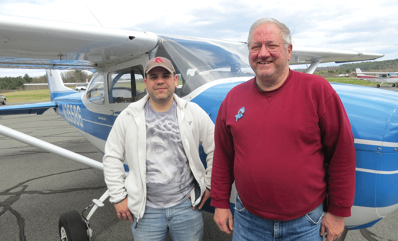 Jesus Pereira, left, with frequent passenger Dave Shields.