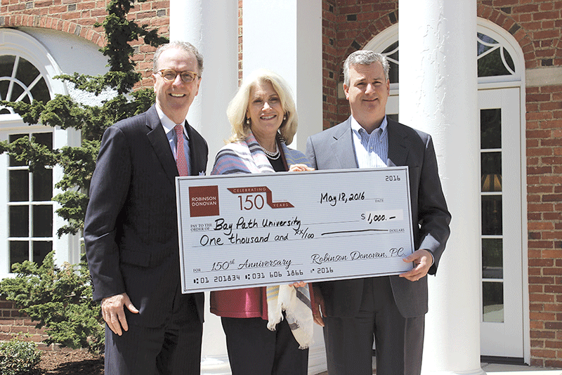 From left, James Martin, partner at Robinson Donovan; Kathleen Bourque, vice president at Bay Path University; and Michael Giampietro, CFO at Bay Path University