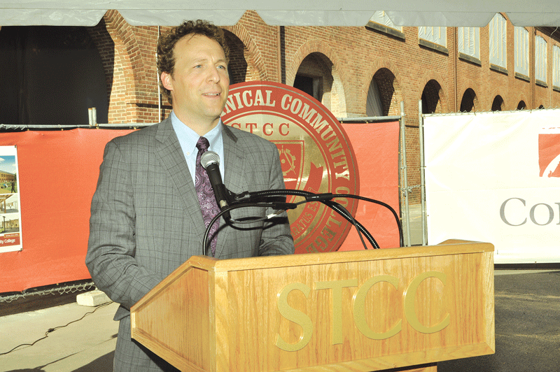 STCC President John Cook speaks at the groundbreaking, which drew a standing-room-only crowd.