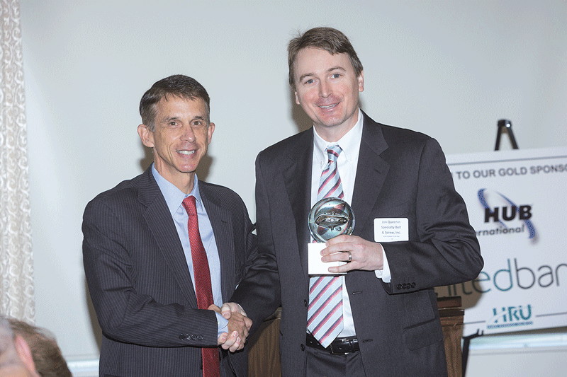 Dan Flynn, United Bank's COO for Wholesale Banking (left), presents HRU's 2016 Employer of the Year Award to Specialty Bolt & Screw Inc.; accepting the award is Specialty COO Jon Queenin.