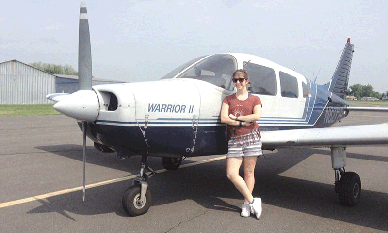Shannon O'Leary, seen here after her first solo flight last summer