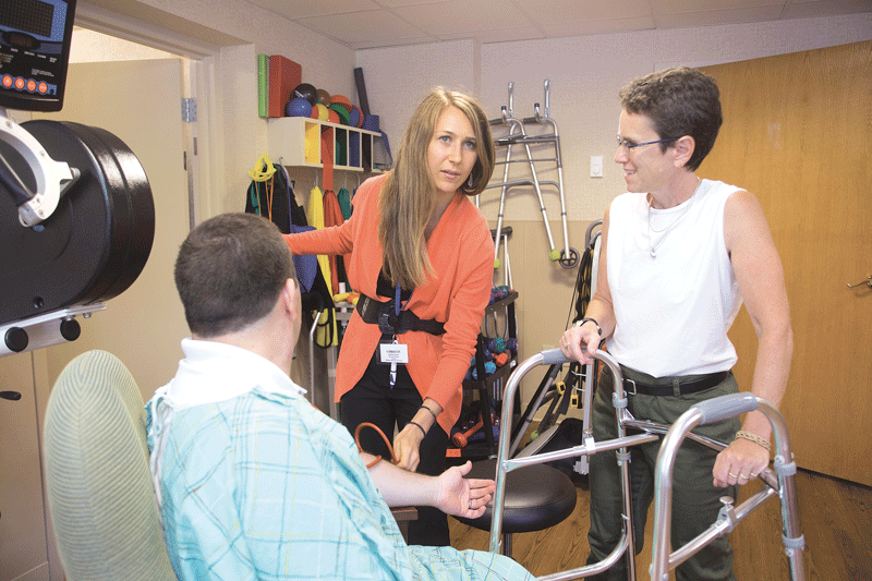 Julia Chevan (right) leads Associate Professor of Physical Therapy Angela Abeyta Campbell