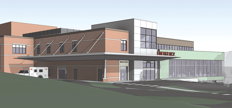 An architect's rendering of Holyoke Medical Center's new Emergency Department, set to open in May or June.