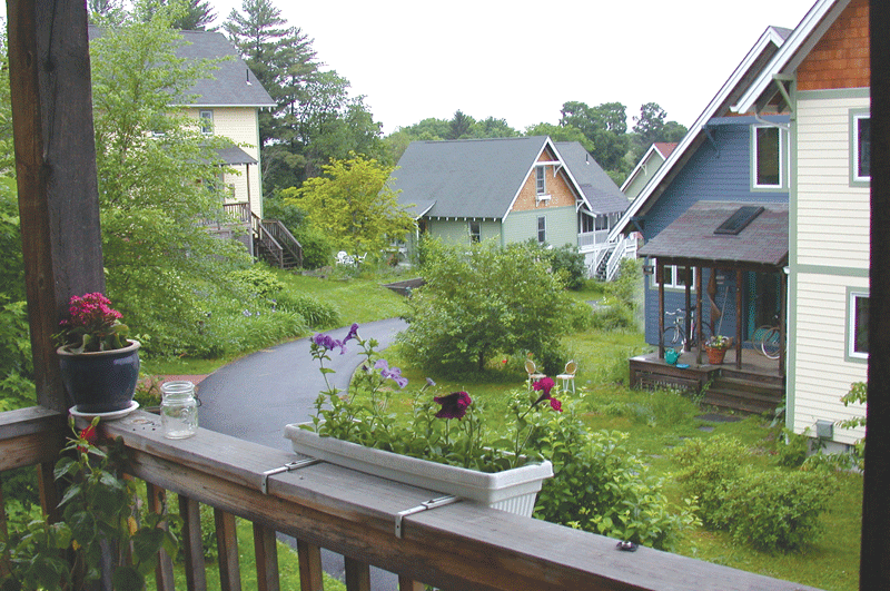 The homes at the Pioneer Valley Cohousing community