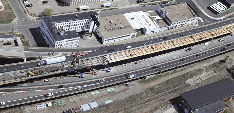 An overhead view of work on the inner lanes of I-91's Springfield viaduct.
