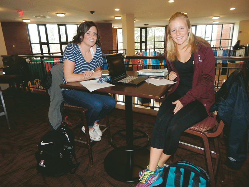 Springfield College students Emily Giardino (left) and Olivia Otter