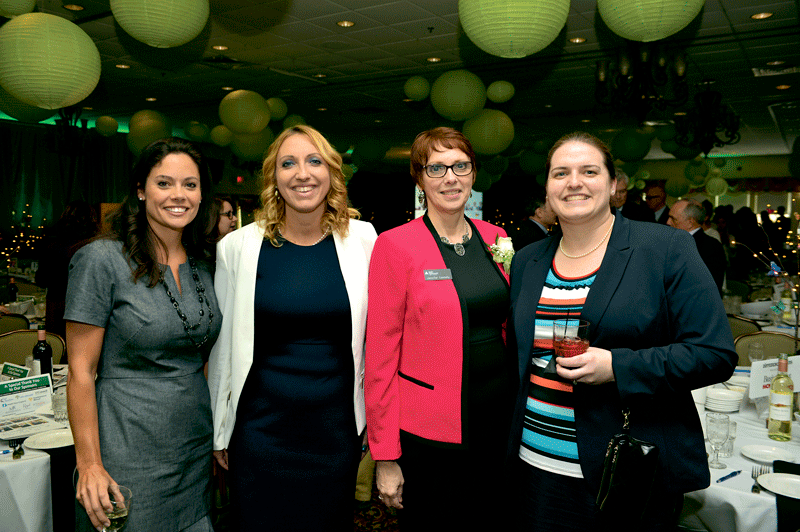 From left, Patricia Faginski of St. Germain Investment Management, Amanda Huston of Elms College, Jennifer Connolly of 2017 Difference Maker Junior Achievement of Western Mass., and Rebecca Connolly (Jennifer's daughter) of Moriarty & Primack, P.C.