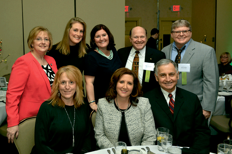 Back row, from left: from event sponsor Sunshine Village, Teri Szlosek, Amie Miarecki, Michelle Depelteau, Peter Benton, and Jeff Pollier. Front row, from left: Colleen Brosnan and Gina Golash Kos from Sunshine Village, and Chicopee Mayor Richard Kos.