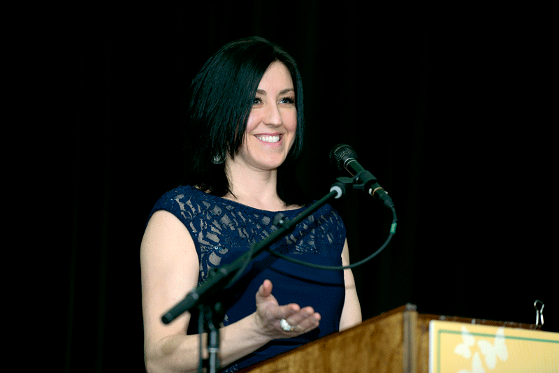 BusinessWest Associate Publisher Kate Campiti welcomes attendees to the Log Cabin.