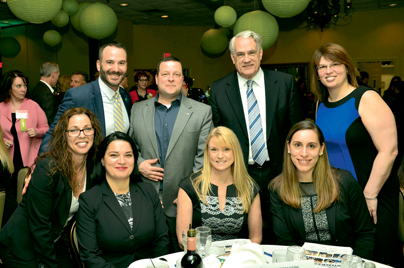Back row, from left: from TD Bank, Gregg Desmarais, Peter Simko, Dave Danker, and Tracey Alves-Lear. Front row, from left: from TD Bank, Christina Sousa, Bela Blake, Jana Seiler, and Claudia Pereira.